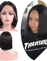 cheap -Remy Human Hair Lace Front Wig Brazilian Hair Straight Wig Bob Haircut 150% Best Quality / New Arrival / Hot Sale Women's Mid Length Human Hair Lace Wig