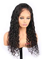 Недорогие -Remy Полностью ленточные Парик Бразильские волосы Волнистые Парик Средняя часть 130% Женский Черный Жен. Длинные Человека ткет Волосы / Парики из натуральных волос на кружевной основе