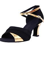 preiswerte -Damen Schuhe für den lateinamerikanischen Tanz PU Absätze Kubanischer Absatz Tanzschuhe Gold / Silber / Rot