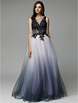 cheap -A-Line Illusion Neck Floor Length Tulle See Through Formal Evening Dress with Beading / Embroidery by TS Couture®