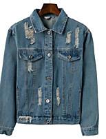 Недорогие -Жен. Джинсовая куртка Классический - Однотонный