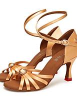abordables -Femme Chaussures Latines Satin Sandale Boutons / Nœud / Détail Cristal Talon épais Personnalisables Chaussures de danse Noir / Amande / Marron