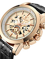 cheap -Men's Sport Watch Japanese Quartz Hollow Engraving Casual Watch Cool Genuine Leather Band Analog Luxury Fashion Black / Brown - Coffee Black / White Black / Rose Gold