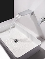 cheap -Bathroom Sink Faucet - Waterfall / Widespread Chrome Wall Mounted Single Handle Two Holes