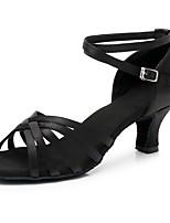cheap -Women's Latin Shoes Satin Sandal / Heel Buckle Cuban Heel Customizable Dance Shoes Black