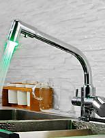 Недорогие -кухонный смеситель - Современный Хром Стандартный Носик / Высокий / High Arc По центру