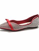 baratos -Mulheres Sapatos Confortáveis Couro Ecológico Outono Rasos Sem Salto Dedo Apontado Preto / Prateado / Vermelho