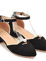 baratos -Mulheres Sapatos Confortáveis Camurça Primavera Saltos Salto Robusto Branco / Preto / Rosa claro