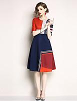 Недорогие -Жен. Уличный стиль А-силуэт Платье - Контрастных цветов, С принтом Средней длины