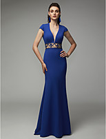 cheap -Sheath / Column Plunging Neck Sweep / Brush Train Satin Open Back Formal Evening Dress with Beading by TS Couture®