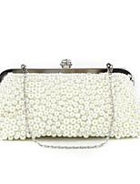 Недорогие -Жен. Мешки ПВХ Вечерняя сумочка Бусины Белый / Бежевый