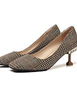 Недорогие -Жен. Балетки Трикотаж Весна Обувь на каблуках На шпильке Черный / Миндальный