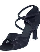 cheap -Women's Latin Shoes Satin Sandal / Heel Flared Heel Customizable Dance Shoes Black / khaki / Leopard