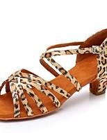 cheap -Women's Latin Shoes Satin Sandal / Heel Buckle Thick Heel Customizable Dance Shoes Leopard