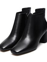 Недорогие -Жен. Обувь Овчина Осень Удобная обувь / Ботильоны Ботинки На толстом каблуке Черный / Желтый