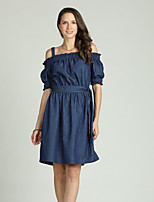 cheap -Suzanne Betro Women's Puff Sleeve Denim Dress - Solid Colored Ruched