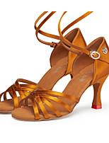 economico -Per donna Scarpe per balli latini Raso Tacchi Tacco cubano Scarpe da ballo Giallo