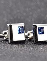 baratos -Cúbico Prata / Azul Botões de Punho Cobre Casual / Fashion Homens Jóias de fantasia Para Formal / Encontro