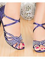 cheap -Women's Latin Shoes Satin Heel Slim High Heel Dance Shoes Purple