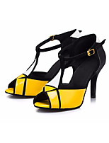 cheap -Women's Latin Shoes Faux Leather Heel Thick Heel Dance Shoes Yellow