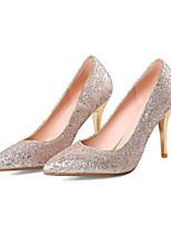 baratos -Mulheres Stiletto Jeans Primavera / Verão Saltos Salto Agulha Dedo Fechado Preto / Prata / Vermelho