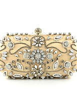 cheap -Women's Bags Polyester Evening Bag Beading / Crystals Floral Print Light Gold