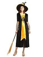 cheap -Witch Costume Women's Halloween / Carnival / Children's Day Festival / Holiday Halloween Costumes Black Solid Colored / Halloween Halloween