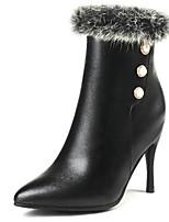 Недорогие -Жен. Fashion Boots Полиуретан Наступила зима Ботинки На шпильке Заостренный носок Сапоги до середины икры Белый / Черный / Для вечеринки / ужина