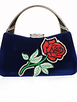 cheap -Women's Bags Corduroy Evening Bag Embroidery / Flower Embroidery Red / Almond / Fuchsia
