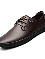 cheap -Men's Faux Leather / PU(Polyurethane) Fall Comfort Sneakers Black / Brown