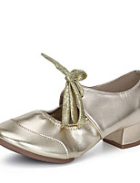 Недорогие -Жен. Обувь для модерна Искусственная кожа На каблуках Толстая каблук Персонализируемая Танцевальная обувь Золотой / Серебряный