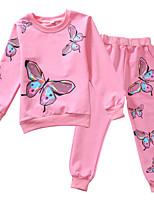 Недорогие -Дети Девочки Бабочка С принтом Длинный рукав Набор одежды