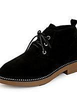 Недорогие -Жен. Армейские ботинки Замша Осень На каждый день Ботинки На толстом каблуке Сапоги до середины икры Черный / Темно-зеленый