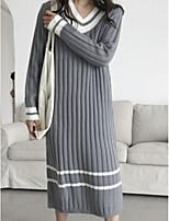 Недорогие -Жен. Длинный рукав Длинный Пуловер - Полоски V-образный вырез