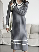 cheap -women's long sleeve long pullover - striped v neck