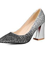 baratos -Mulheres Sapatos Confortáveis Jeans Primavera Casual Saltos Salto Robusto Branco / Preto / Rosa claro