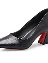 Недорогие -Жен. Обувь Овчина Весна Удобная обувь Обувь на каблуках На толстом каблуке Черный / Бежевый / Красный