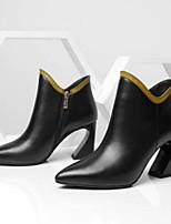 Недорогие -Жен. Балетки Наппа Leather Наступила зима Ботинки На толстом каблуке Закрытый мыс Ботинки Белый / Черный