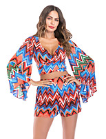 cheap -Women's Boho / Street chic Flare Sleeve Set - Geometric / Color Block / Rainbow, Print Pant