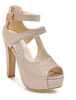baratos -Mulheres Sapatos Confortáveis Couro Ecológico Primavera Saltos Salto Agulha Dourado / Azul / Rosa claro