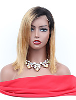 cheap -Remy Human Hair Full Lace Wig Brazilian Hair Straight Wig Asymmetrical Haircut 130% Women / Easy dressing / Sexy Lady Women's 8-14 Human Hair Lace Wig