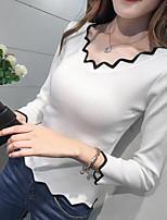 Недорогие -Жен. Большие размеры Длинный рукав Пуловер - Однотонный