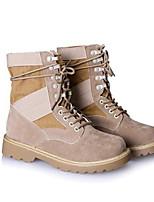 Недорогие -Жен. Комфортная обувь Полиуретан Наступила зима Ботинки На низком каблуке Ботинки Хаки / Контрастных цветов