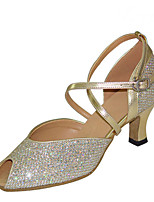 cheap -Women's Latin Shoes Satin Sandal / Heel Slim High Heel Customizable Dance Shoes Gold / Silver