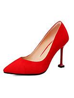 preiswerte -Damen Komfort Schuhe Wildleder Frühling Hochzeit Schuhe Stöckelabsatz Rot