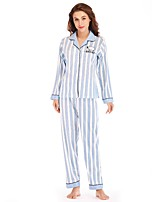 cheap -Women's Deep V Suits Pajamas Striped
