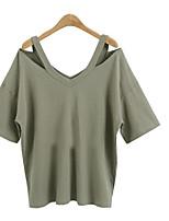 baratos -Mulheres Camiseta Sólido Algodão
