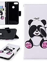 Недорогие -Кейс для Назначение Huawei P smart Кошелек / Бумажник для карт / со стендом Чехол Панда Твердый Кожа PU для P smart