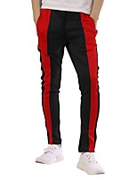 cheap -Men's Patchwork / Pocket Jogger Pants / Running Pants - Orange, Yellow, Green Sports Stripe, Fashion Bottoms Fitness, Gym, Workout Activewear Thermal / Warm, Breathable, Sweat-wicking Micro-elastic