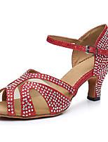Недорогие -Жен. Обувь для латины Сатин На каблуках Толстая каблук Танцевальная обувь Красный / Бронзовый